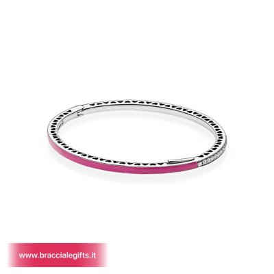 Catalogo Pandora 2020 Bracciale Rigido In Argento Zirconia Cubica E Smalto Color Orchidea